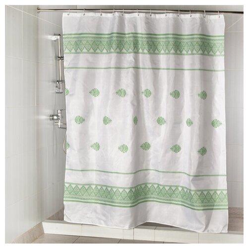 Штора для ванной Aquarius Весна 180х200 зеленый