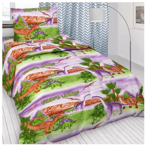 Постельное белье 1.5-спальное Letto Динозавры 50х70 см бязь цена 2017