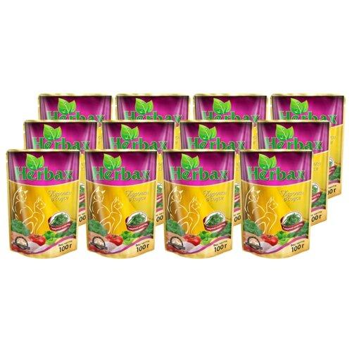 Влажный корм для кошек Herbax Курочка в соусе с морской капустой 24 шт. (0.1 кг) 24шт. х 100 г влажный корм для кошек herbax аппетитный кролик в соусе с травами 24 шт 0 1 кг 24шт х 100 г