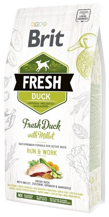 Корм для собак Brit Fresh для активных животных, утка с просом