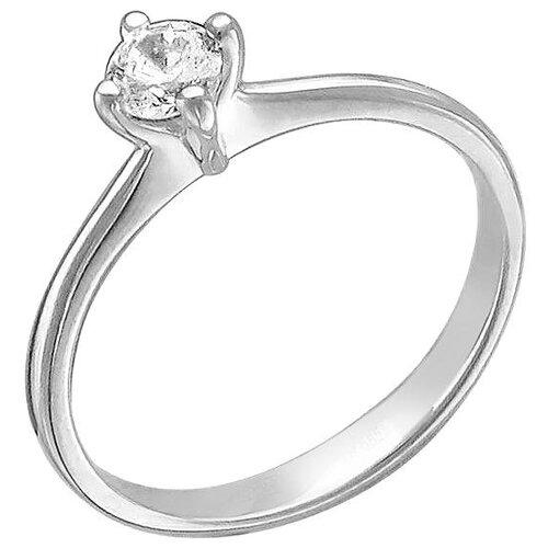 Эстет Кольцо с 1 фианитом из серебра 01К154137, размер 15.5