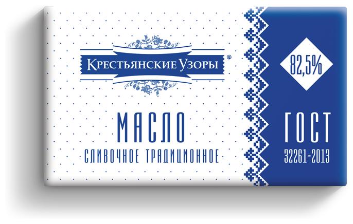 Крестьянские узоры Масло сливочное традиционное 82.5%, 400 г