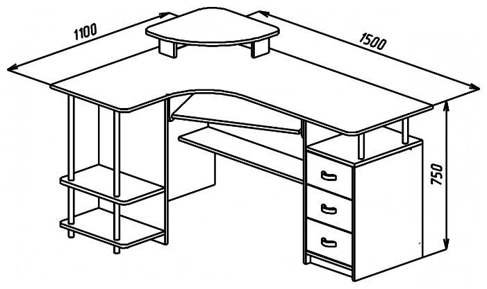 Компьютерный стол угловой Compass С-224 БН — купить по выгодной цене на Яндекс.Маркете