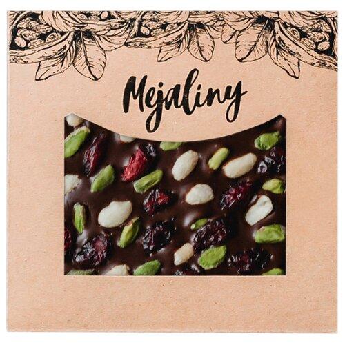 Шоколад Mejaliny темный с фисташкой, арахисом и клюквой, 62%, 80 г