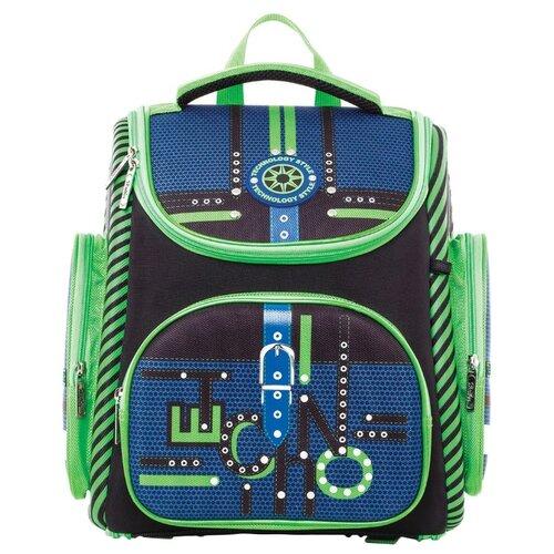 Hatber Ранец Compact Plus Techno (NRk_22041), черный/зеленый/синий hatber ранец школьный hatber ergonomic plus eva 2 отд 2 кармана светоотраж camo army