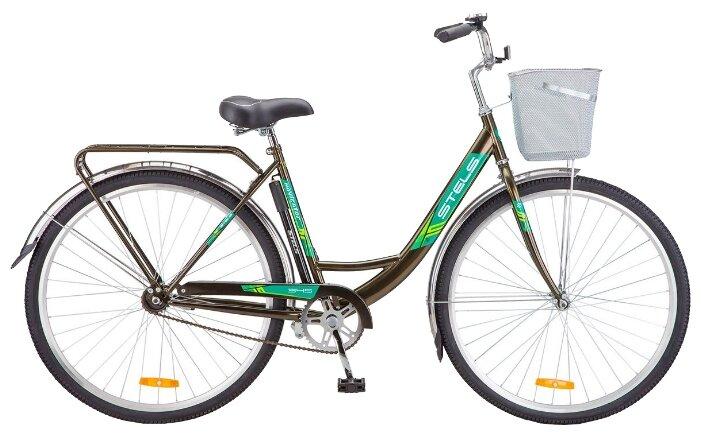 Городской велосипед STELS Navigator 345 28 Z010 с корзиной (2018) темно-оливковый (требует финальной сборки)