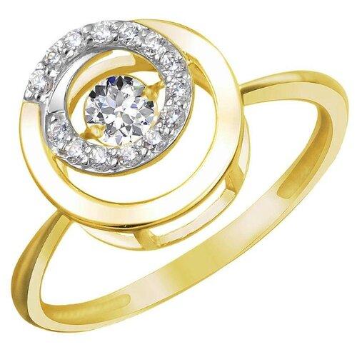 Эстет Кольцо с 15 фианитами из жёлтого золота 01К1311852Р, размер 19.5 ЭСТЕТ
