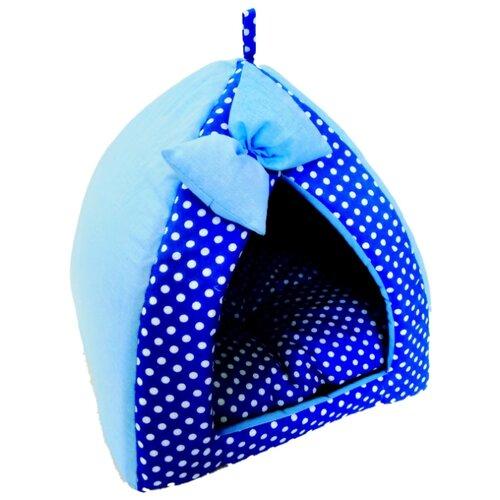 Домик для собак и кошек LOORI Дуэт 40х40х42 см голубой
