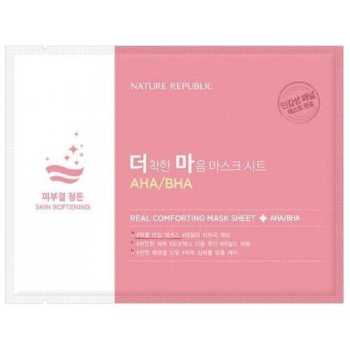 NATURE REPUBLIC тканевая маска Real Comforting с AHA/BHA кислотами, 24 гМаски<br>