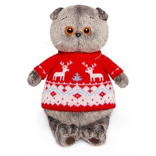 Фото - Мягкая игрушка Basik&Co Кот Басик в свитере с оленями 22 см мягкая игрушка лесята ёжик игоша в свитере 15 см