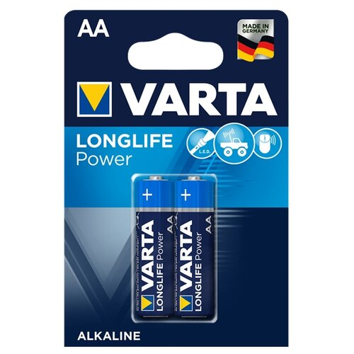 Батарейка VARTA LONGLIFE Power AA 2 шт блистер батарейка varta longlife power 3lr12 1 шт блистер