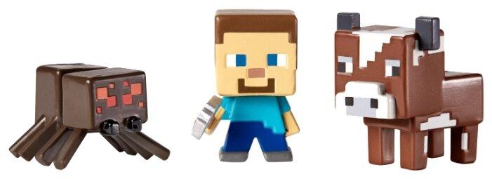 Игровой набор Mattel Minecraft Grass 1 - Стив, Паук, Корова CGX25