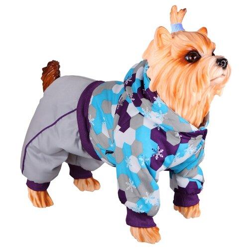 Комбинезон для собак DEZZIE 56355 мальчик, 30 см серый/фиолетовый/голубой
