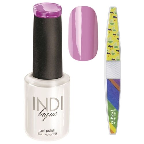 Набор для маникюра Runail пилка для ногтей и гель-лак INDI laque, оттенок 3086 набор для нейл арта пилка для ногтей runail professional гель лак indi laque тон 3708 9 мл