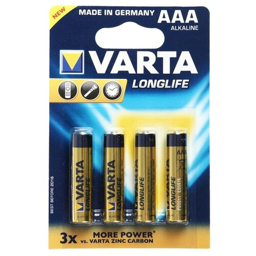 Батарейка VARTA LONGLIFE AAA 4 шт блистер батарейка varta longlife power 3lr12 1 шт блистер