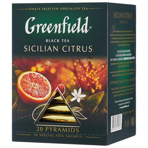 Чай черный Greenfield Sicilian Citrus в пирамидках, 36 г 20 шт. denker mellow citrus черный чай в пирамидках 25 шт