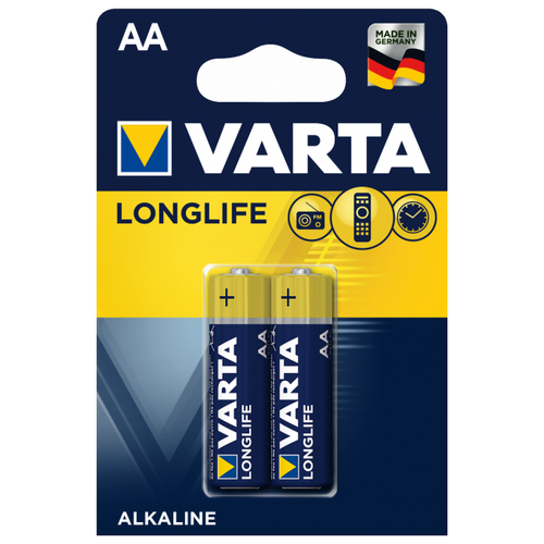 Фото - Батарейка VARTA LONGLIFE AA 2 шт блистер батарейка varta longlife power 3lr12 1 шт блистер