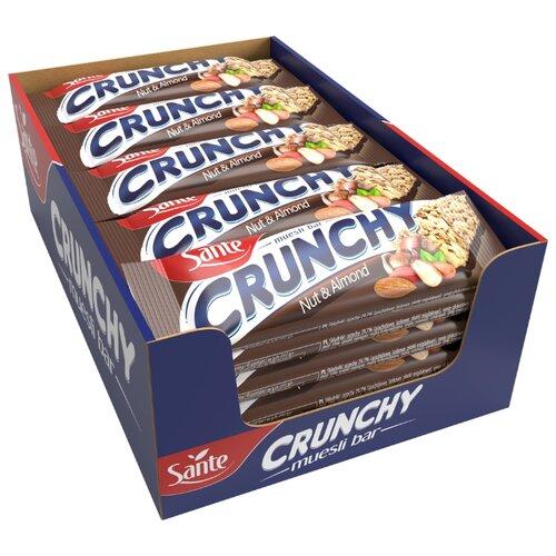 Ореховый батончик Sante Crunchy с орехами и миндалем в шоколаде, 25 шт