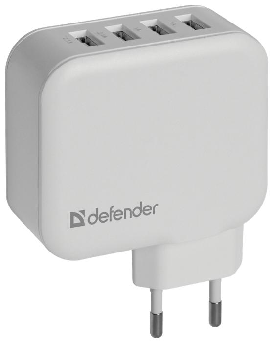 Сетевое зарядное устройство Defender UPA-60, 4хUSB 5V/2.1А, белый