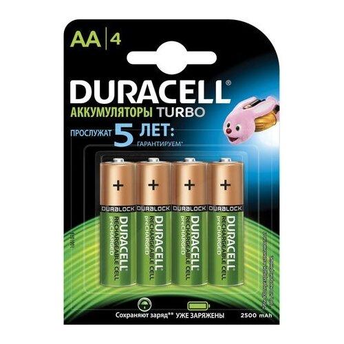 Фото - Аккумулятор Ni-Mh 2500 мА·ч Duracell Turbo AA/HR6 2500, 4 шт. gp gpu811 и 4 аккум aa hr6 2700mah адаптер gpu811gs270aahc 2cr4