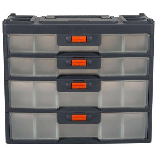 Ящик с органайзером BLOCKER Expert 4 секции BR3789 31x15x26.2 см серо-свинцовый/оранжевый ящик с органайзером blocker master br6006 61x32x30 см 24 серо свинцовый оранжевый
