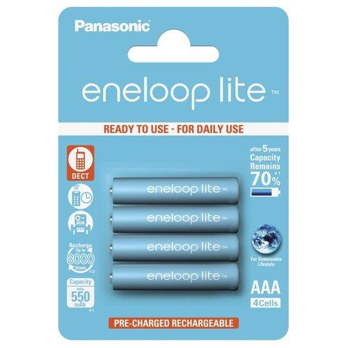 Аккумулятор Ni-Mh 550 мА·ч Panasonic eneloop lite AAA, 4 шт. аккумулятор ni mh 550 ма·ч panasonic eneloop lite dect aaa 3 шт блистер