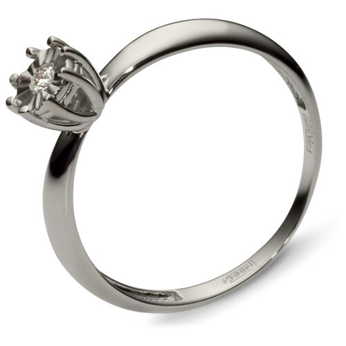 Эстет Кольцо с 1 бриллиантом из белого золота 01К624879, размер 19
