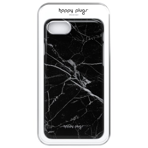 Чехол-накладка Happy Plugs 9142 + защитная пленка для Apple iPhone 7/iPhone 8 Black Marble чехол накладка happy plugs 9160 защитная пленка для apple iphone x xs white marble