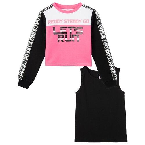 Спортивный костюм playToday размер 128, черный/белый/фуксия