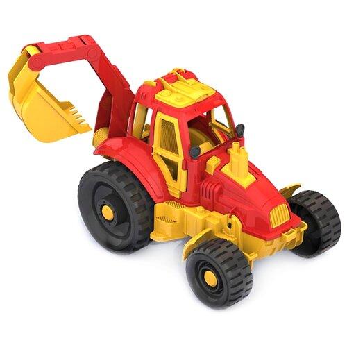 Купить Трактор Нордпласт с ковшом (399) 29 см желтый/красный, Машинки и техника