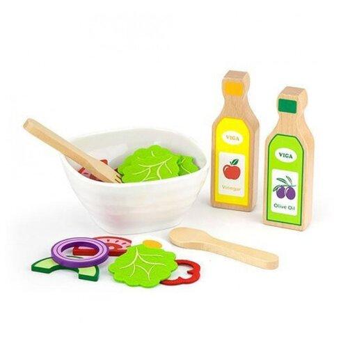 Купить Набор продуктов с посудой Viga Готовим салат 51605 разноцветный, Игрушечная еда и посуда