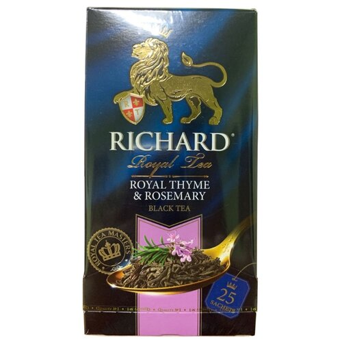 Чай черный Richard Royal thyme&rosemary в пакетиках, 25 шт. чай листовой richard royal ceylon dogs