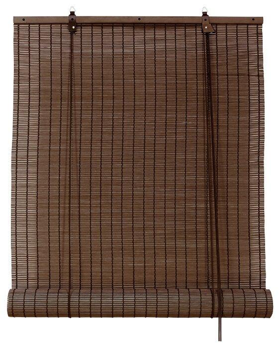 Рулонная штора Эскар бамбуковые (коричневый), 100х160 см