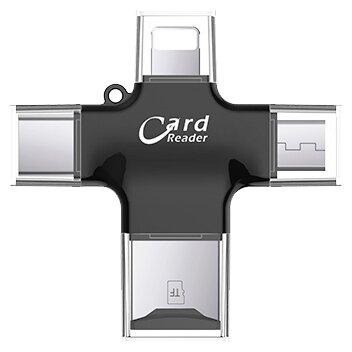 Кардридер USB/micro-USB/USB Type-C/Lightning Moweek - Черный