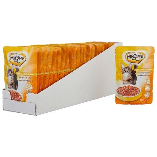 Корм для стерилизованных кошек Мнямс с курицей 24шт. х 100 г (кусочки в соусе) корм для стерилизованных кошек мнямс с ягненком 100 г кусочки в соусе