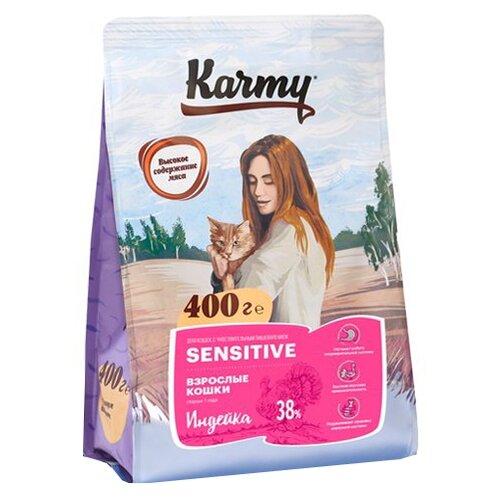Корм для кошек Karmy при чувствительном пищеварении, с индейкой 400 г фото