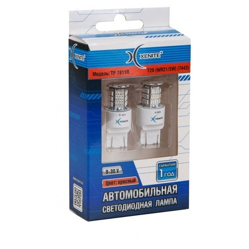 цена на Лампа автомобильная светодиодная Xenite 1009394 TP-7811R T20 WR21/5W 22W 9-30V 2 шт.