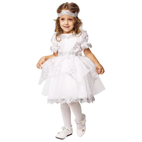 Купить Костюм пуговка Снежинка (2022 к-18), белый/серебристый, размер 128, Карнавальные костюмы