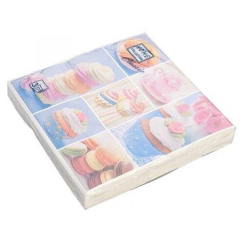 Салфетки бумажные, трехслойные Home Collection Воздушные пирожные, 33x33 см (20 штук)