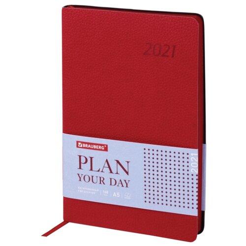 Купить Ежедневник BRAUBERG Stylish датированный на 2021 год, искусственная кожа, А5, 168 листов, красный, Ежедневники, записные книжки