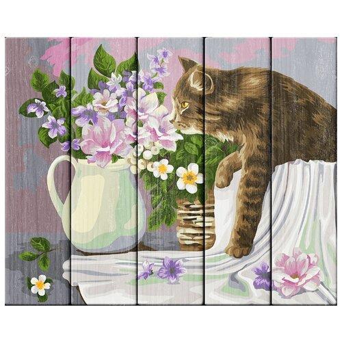 Купить Картина по номерам Фрея 40*50 см, Кошка в лукошке, Жанна Когай , по дереву (PKW-1 68), ФРЕЯ, Картины по номерам и контурам