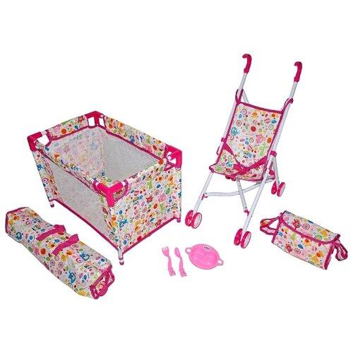 Купить Прогулочная коляска Mary Poppins Фантазия набор 3 в 1 67327 розовый, Коляски для кукол