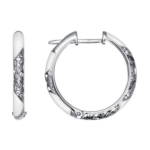 SOKOLOV Серьги-кольца с белой эмалью 94021241 кольца sokolov 94011711 s