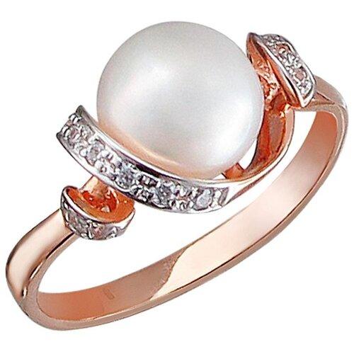Эстет Кольцо с жемчугом и фианитами из серебра с позолотой С15К351063П, размер 16 ЭСТЕТ