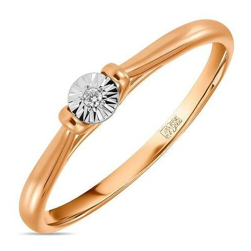 ЛУКАС Кольцо с 1 бриллиантом из жёлтого золота R01-D-L-PL-35213, размер 17.5 кольцо из золота r01 d r306443sap