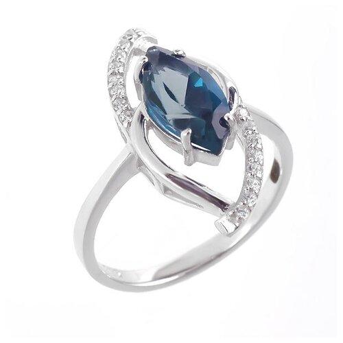 Фото - Balex Кольцо 1405936463 из серебра 925 пробы с топазом Лондон и фианитом, размер 17 element47 кольцо из серебра 925 пробы с топазами лондон r32560h 7 ko lt wg размер 17 25