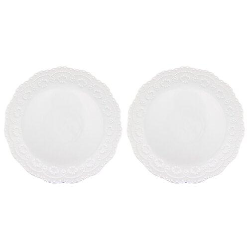Elan gallery Набор тарелок для закуски Белый узор 20,5 см, 2 шт (540157) белый набор аксессуаров для ванной elan gallery elan gallery mp002xu02i2u