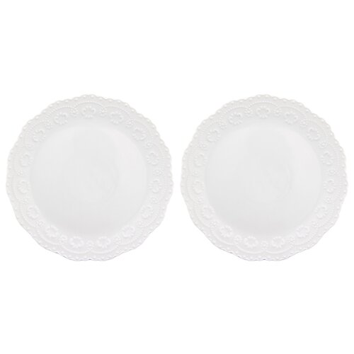 Elan gallery Набор тарелок для закуски Белый узор 20,5 см, 2 шт (540157) белый блюдо для оливок elan gallery капля с вилкой 11 см х 10 5 см