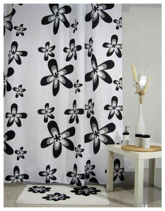 Штора текстильная для ванны и душа Aquarius «Черные цветы», 180х200 см