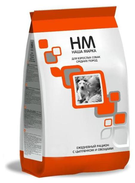 Корм для собак Наша Марка (15 кг) Для взрослых собак средних пород с цыплёнком и овощами
